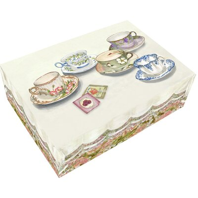 Large English Tea Cups Hinge Box 38009