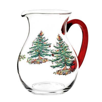 Christmas Tree Glass Pitcher