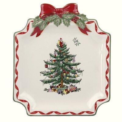 Christmas Tree Ribbon Dessert Plate