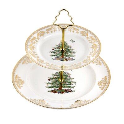 Christmas Tree Gold Cake Stand