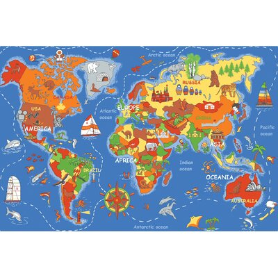 Play Carpet Where In The World Blue Indoor/OutdoorArea Rug Rug Size: Rectangle 3 x 68