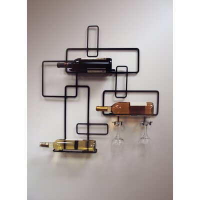 3 Bottle Wall Mounted Wine Rack