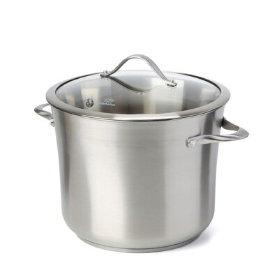 Contemporary Stainless Steel Stock Pot with Lid Size: 12 Qt.