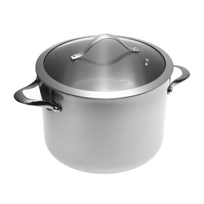 Contemporary Stainless Steel Stock Pot with Lid Size: 8 Qt.