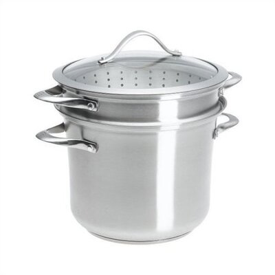 Contemporary Stainless Steel 8 Qt. Multi-Pot with Lid