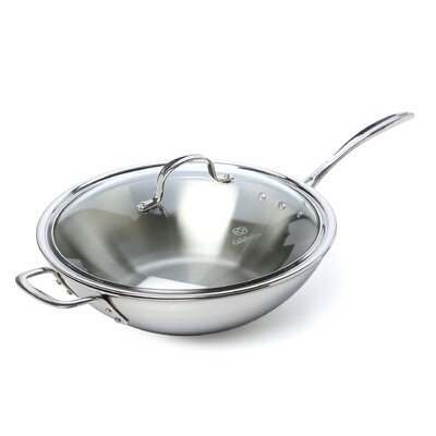 Tri-Ply Stainless Steel 12 Frying Pan with Lid