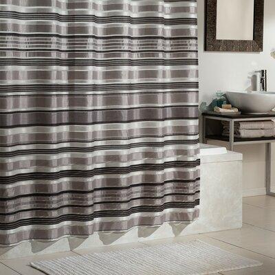 Carola Shower Curtain Color: Black Silver