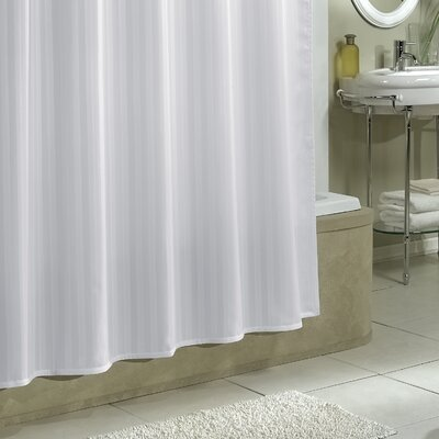Lorita Damask Stripe Shower Curtain Liner Color: White