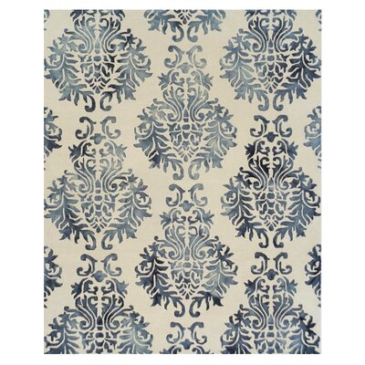 Bishop Dip Dye Damask Hand-Woven Blue Area Rug Rug Size: 8 x 10
