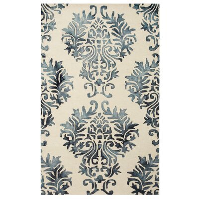 Bishop Dip Dye Damask Hand-Woven Blue Area Rug Rug Size: Rectangle 5 x 8