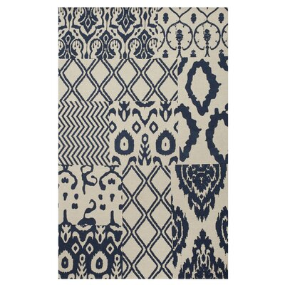 Hinton Indigo Patchwork Hand-Woven Blue Area Rug Rug Size: Rectangle 5 x 8
