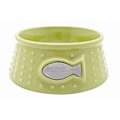 "Catit Style Ceramic Cat Dish Size: Small (2.3"" H x 6.3"" W x 6.3"" D), Color: Lime Green / Dot Pattern"