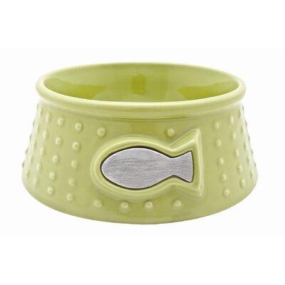 "Catit Style Ceramic Cat Dish Size: Medium (2.8"" H x 7"" W x 7"" D), Color: Lime Green / Dot Pattern"