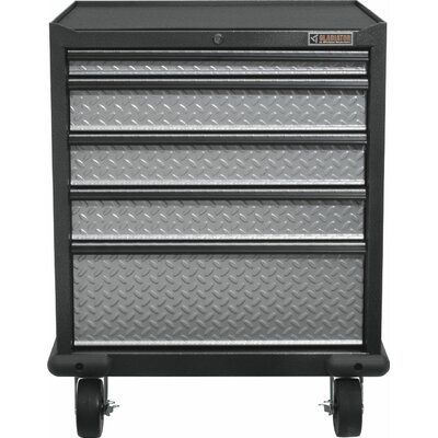 "Premier Series Pre-Assembled 35"" H x 28"" W x 25"" D Steel 5-Drawer Rolling Garage Cabinet in Silver Tread GAGD275DRG"