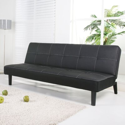 Columbus Convertible Sofa Upholstery: Black PU Leather