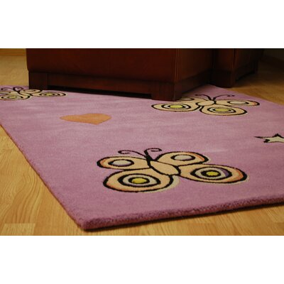 Playful Purple Butterfly Kisses Rug Rug Size: Rectangle 4 x 6