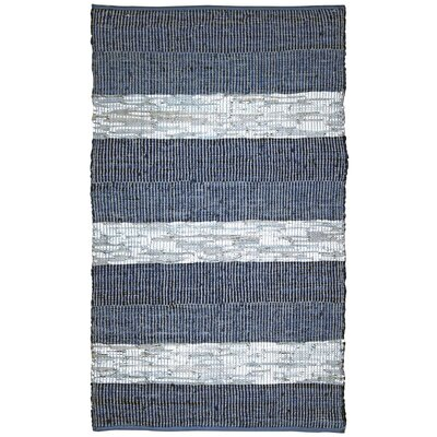 Matador Chindi Hand-Woven Cotton Leather Blue Area Rug Rug Size: 26 x 42