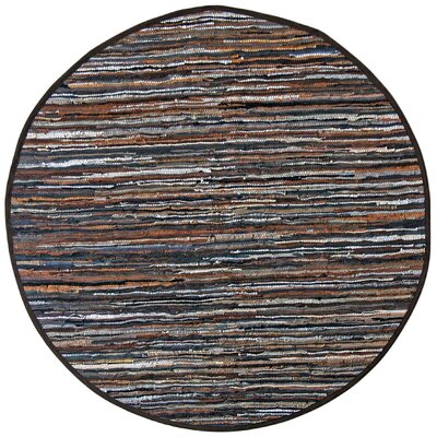 Matador Leather Chindi Brown Area Rug Rug Size: Round 6