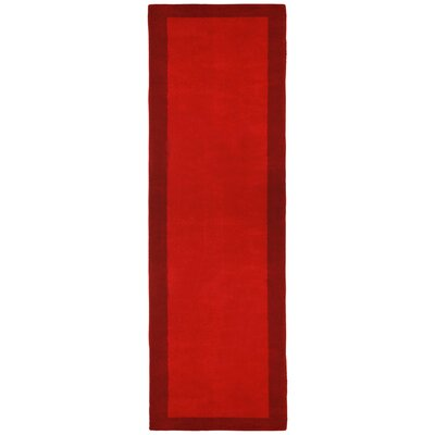 Pulse Red Border Rug Rug Size: Runner 26 x 12