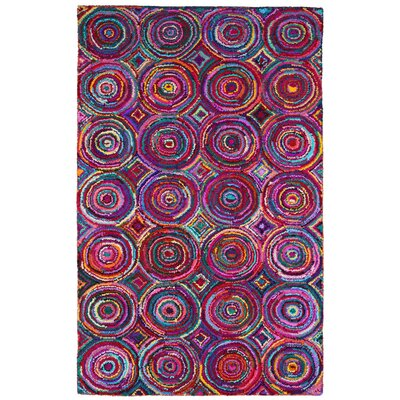Brilliant Ribbon Hand Woven Cotton Purple/Red/Blue Area Rug Rug Size: 4 x 6