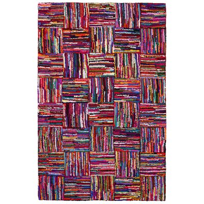 Brilliant Ribbon Hand Woven Cotton Purple/Red/Blue Area Rug Rug Size: 5 x 8