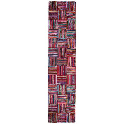 Brilliant Ribbon Hand Woven Cotton Purple/Red/Blue Area Rug Rug Size: Runner 26 x 12