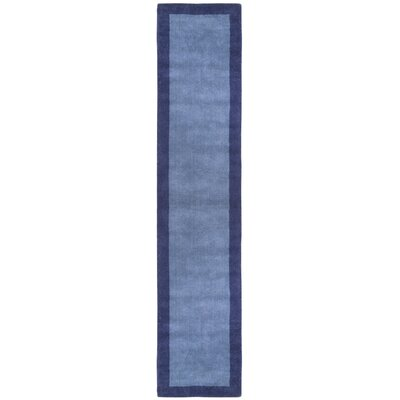 Pulse Blue Border Rug Rug Size: Runner 26 x 12