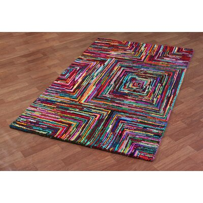 Brilliant Ribbon Hand Woven Cotton Multi-Colored Area Rug Rug Size: 4 x 6