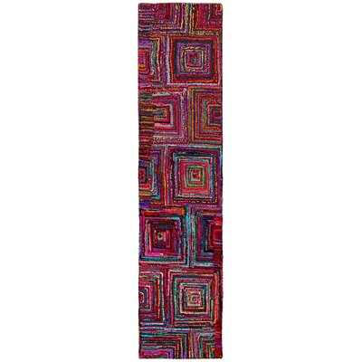 Brilliant Ribbon Blocks Area Rug Rug Size: Runner 26 x 12
