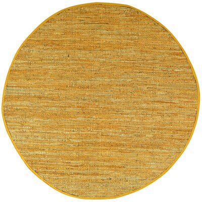 Matador Hand-Loomed Gold Area Rug Rug Size: Round 3