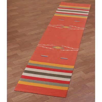 Sedona Hand-Woven Orange Area Rug Rug Size: Runner 26 x 12