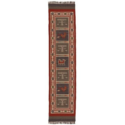 Hacienda Hand-Woven Red Area Rug Rug Size: Runner 26 x 8