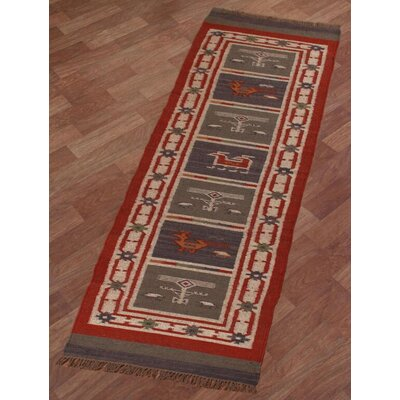 Hacienda Hand-Woven Red Area Rug Rug Size: Runner 26 x 12