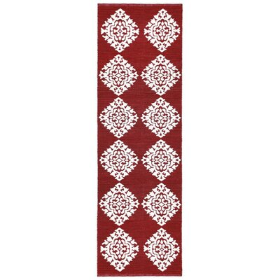 Jacquard Hand-Woven Red Area Rug Rug Size: Runner 26 x 8