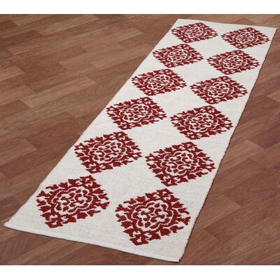 Jacquard Hand-Woven Red Area Rug Rug Size: Runner 26 x 12