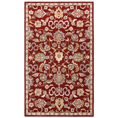 Traditions Hand-Tufted Red Area Rug Rug Size: 5 x 8