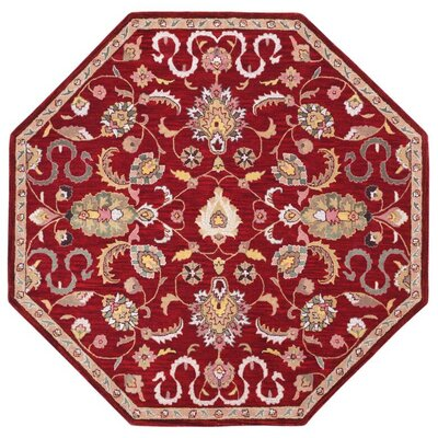 Traditions Hand-Tufted Red Area Rug Rug Size: Octagon 8
