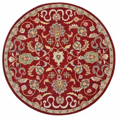 Traditions Hand-Tufted Red Area Rug Rug Size: Round 8