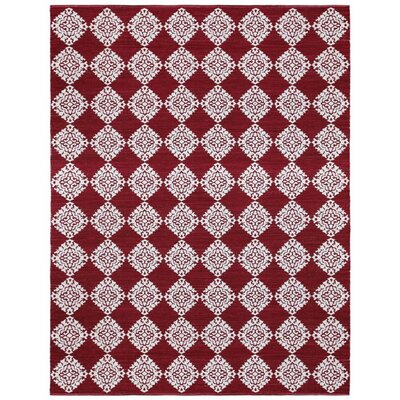 Jacquard Hand-Woven Red Area Rug Rug Size: 3 x 5