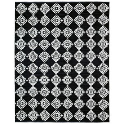 Jacquard Handmade Black Area Rug Rug Size: 4 x 6