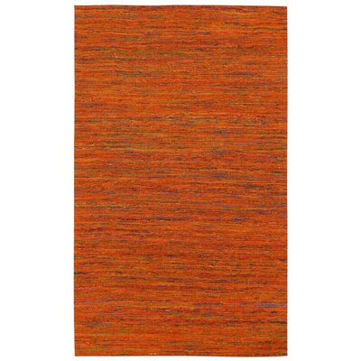 Sari Silk Handmade Orange Area Rug Rug Size: 5 x 8