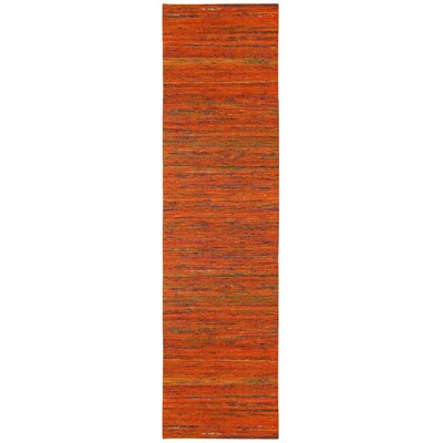 Sari Silk Handmade Orange Area Rug Rug Size: Runner 26 x 12