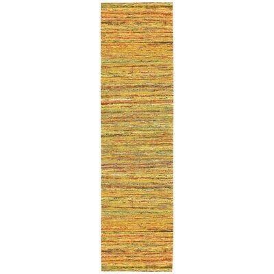 Sari Silk Handmade Yellow Area Rug Rug Size: Runner 26 x 12