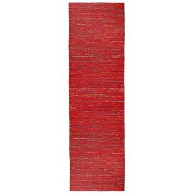 Sari Silk Handmade Red Area Rug Rug Size: Runner 26 x 12