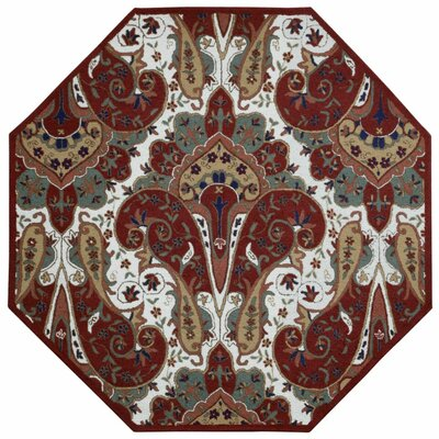 Structure Hand-Tufted Red Area Rug Rug Size: Octagon 8
