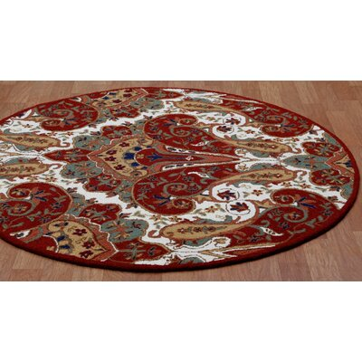 Structure Hand-Tufted Red Area Rug Rug Size: Round 8'