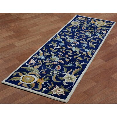 Traditions Hand-Tufted Blue Area Rug Rug Size: Runner 26 x 8