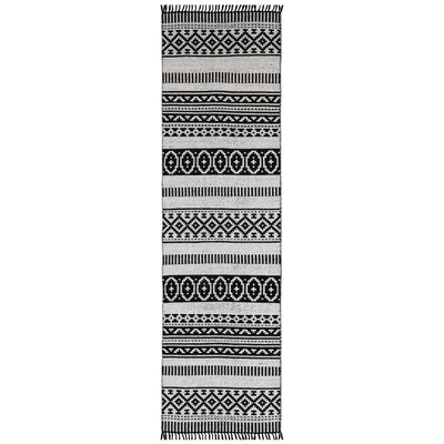 Complex Hand-Loomed Black Area Rug Rug Size: Runner 26 x 12
