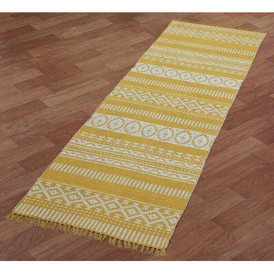 Complex Hand-Loomed Yellow Area Rug Rug Size: Runner 26 x 12