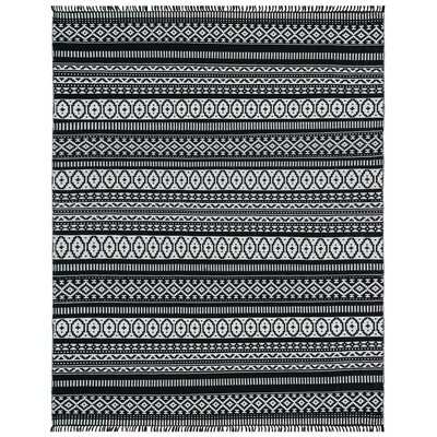 Complex Hand-Loomed Black Area Rug Rug Size: 10 x 14